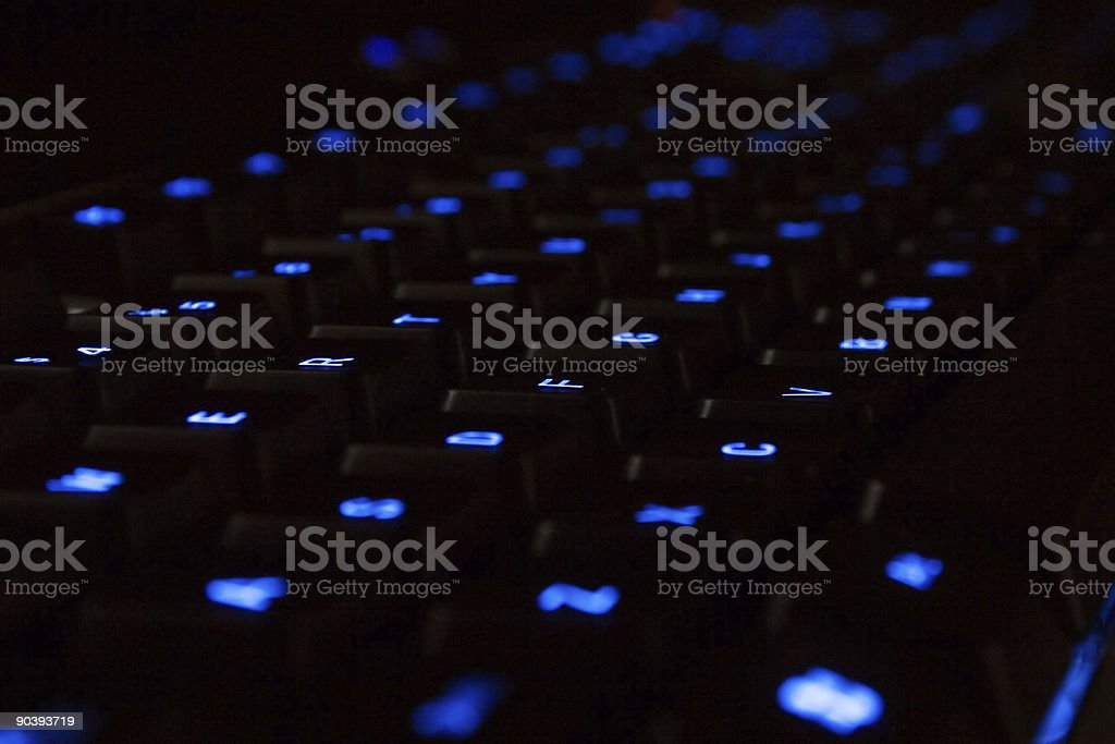 Blue neon Keyboard royalty-free stock photo