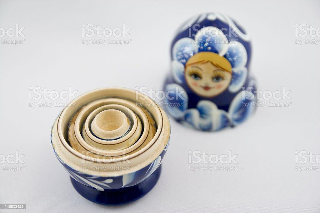 Blue Nesting Doll stock photo