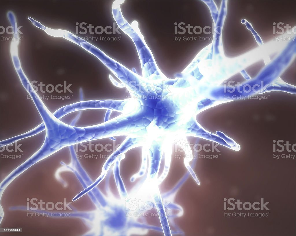 blue neuron cell royalty-free stock photo