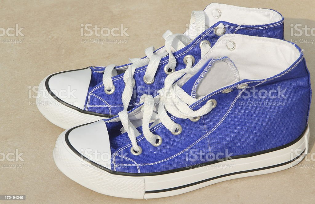 blue  newsport shoes stock photo