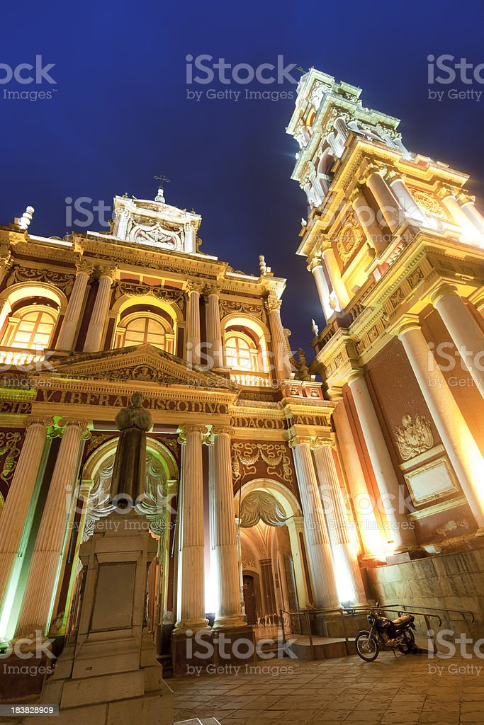 Blue night over Church of San Francisco in Salta, Argentina stock photo