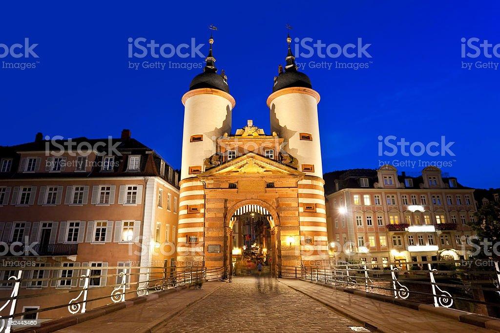 Blue night over Old Bridge in Heidelberg Germany stock photo