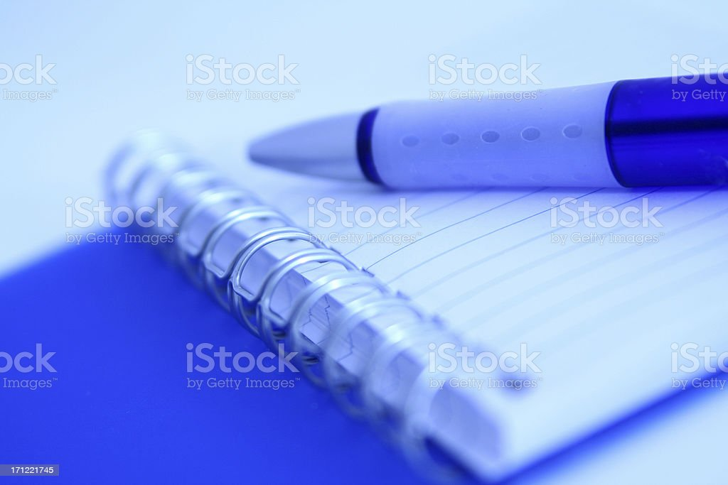 Blue notebook stock photo