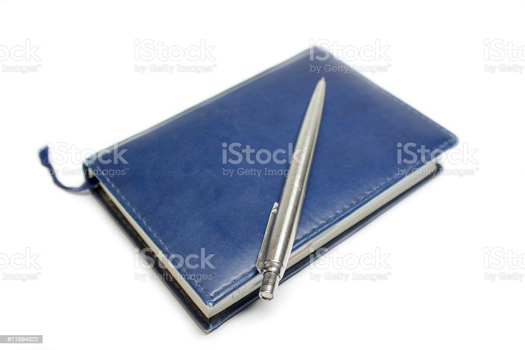blue notebook with bookmark stock photo