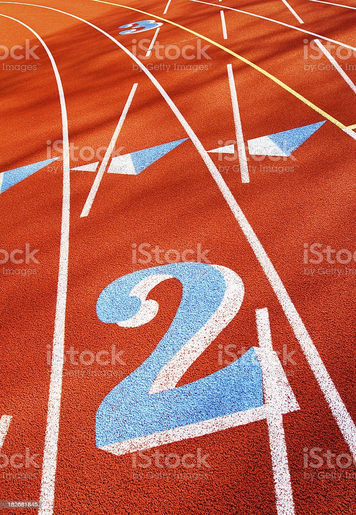 blue number 2 on running track field royalty-free stock photo