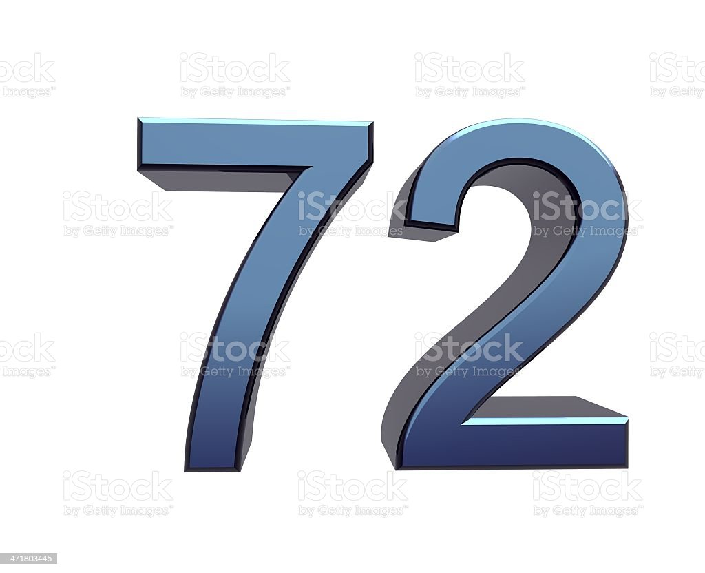 blue number 72 stock photo