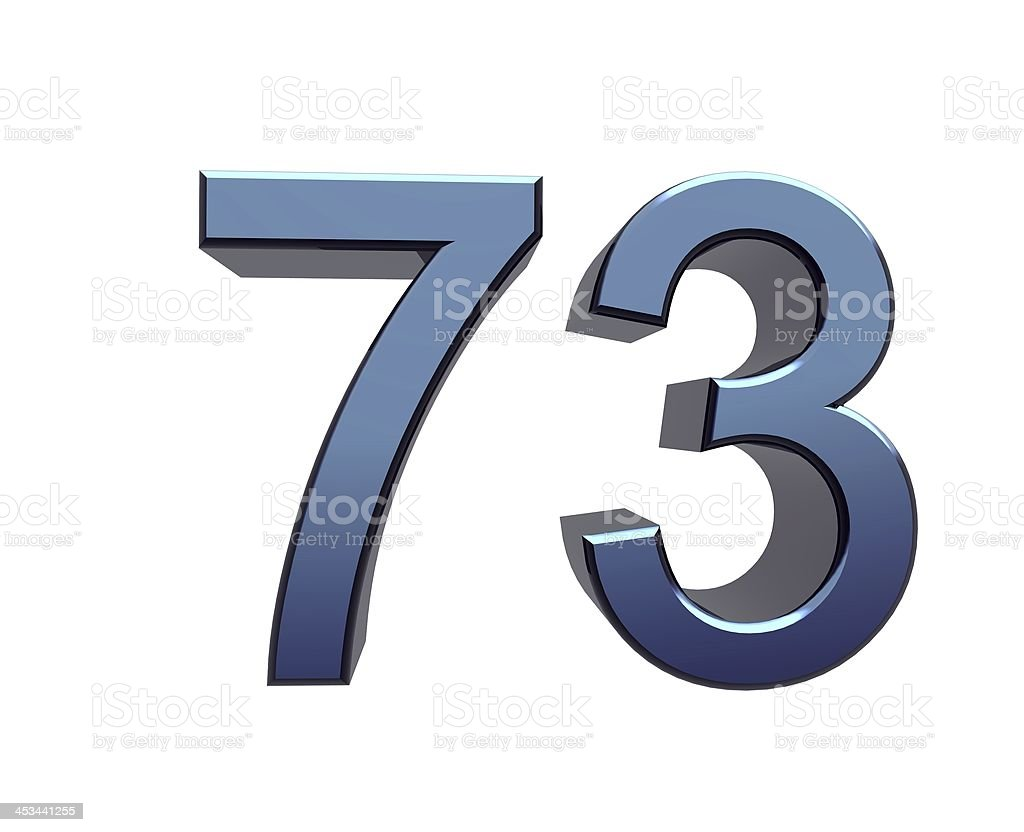 blue number 73 stock photo