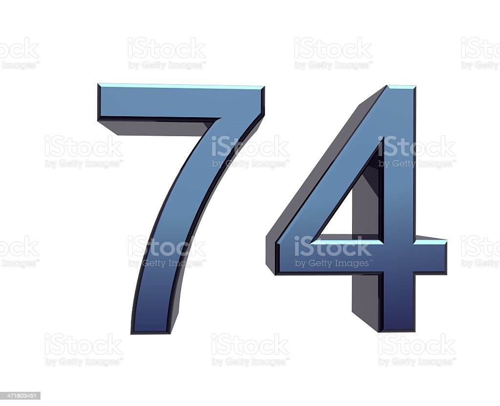 blue number 74 stock photo