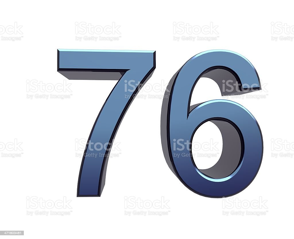 blue number 76 stock photo