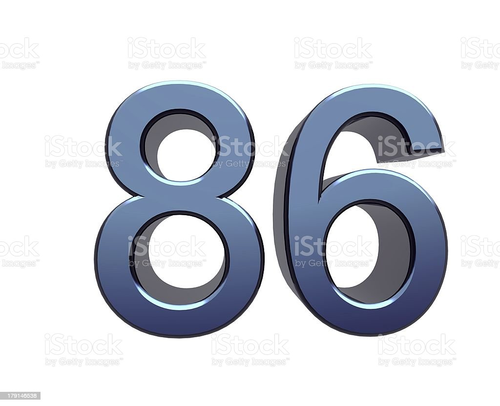 blue number eighty-six stock photo