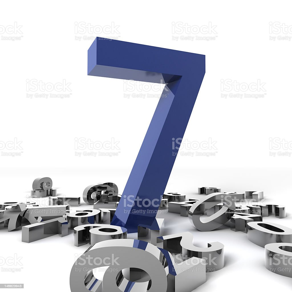 Blue number seven stands tall upon smaller silver numbers stock photo