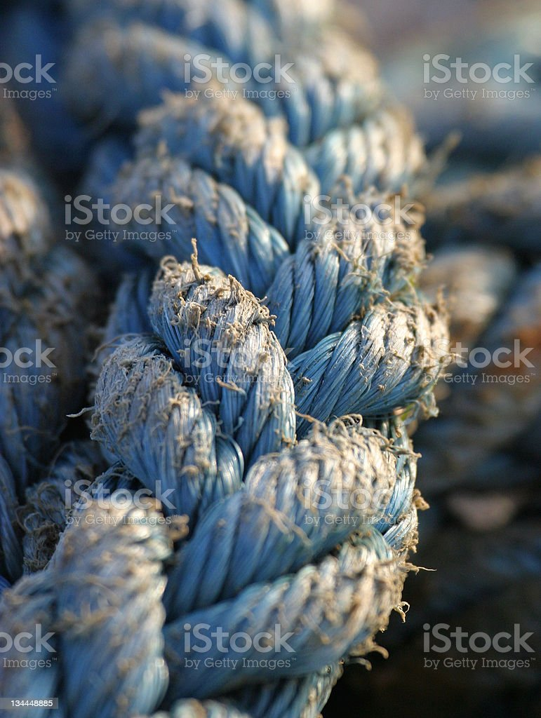 Blue Nylon Rope _ highly selective focus royalty-free stock photo