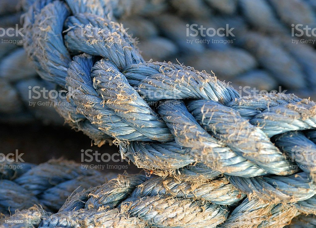 Blue Nylon Rope _ highly selective focus stock photo