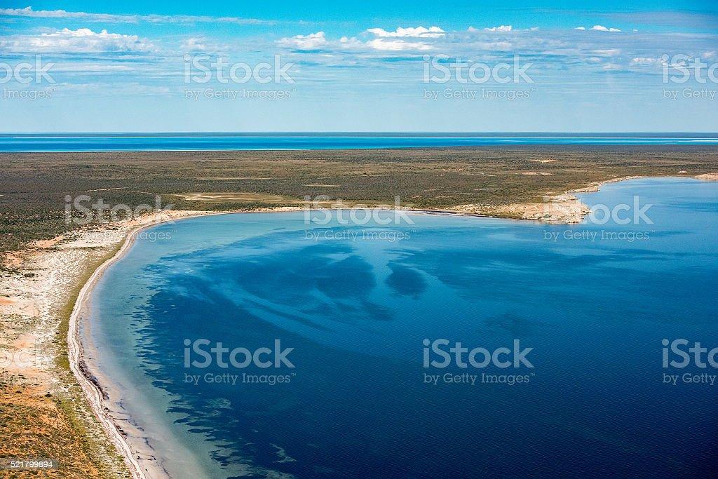 blue ocean aerial view in shark bay Australia stock photo