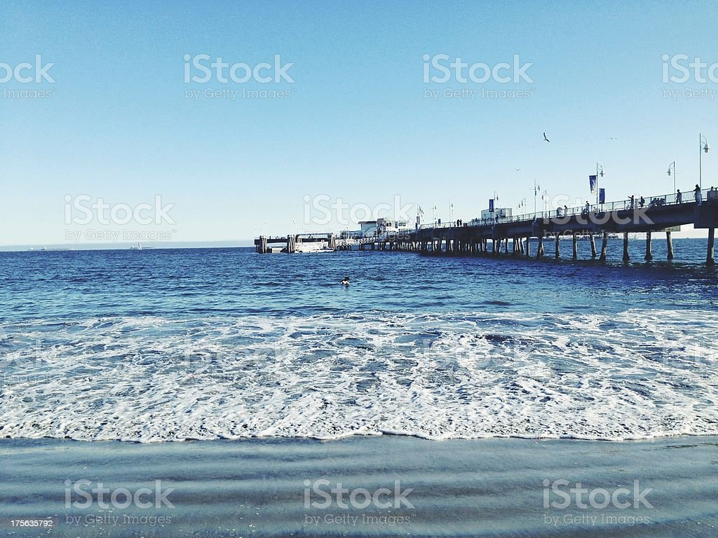 Blue Ocean and Pier stock photo
