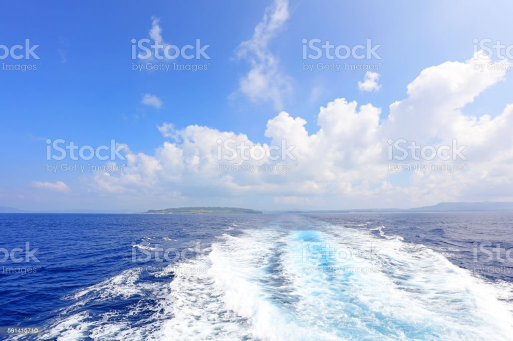 Blue ocean and trail stock photo