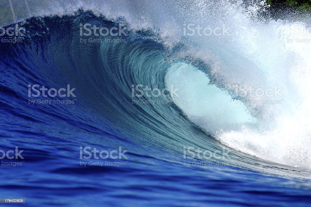 Blue ocean surfing wave Sumatra stock photo