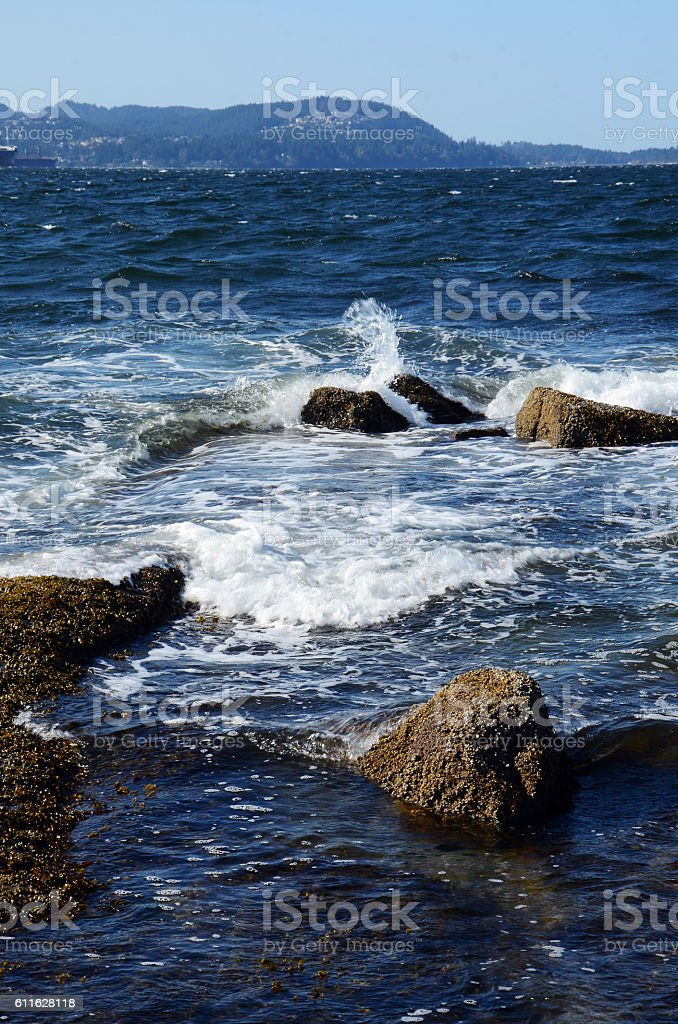 Blue Ocean Waves and Rocks stock photo