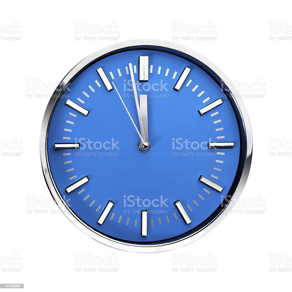 Blue office clock, just before deadline, one minute to 12 stock photo