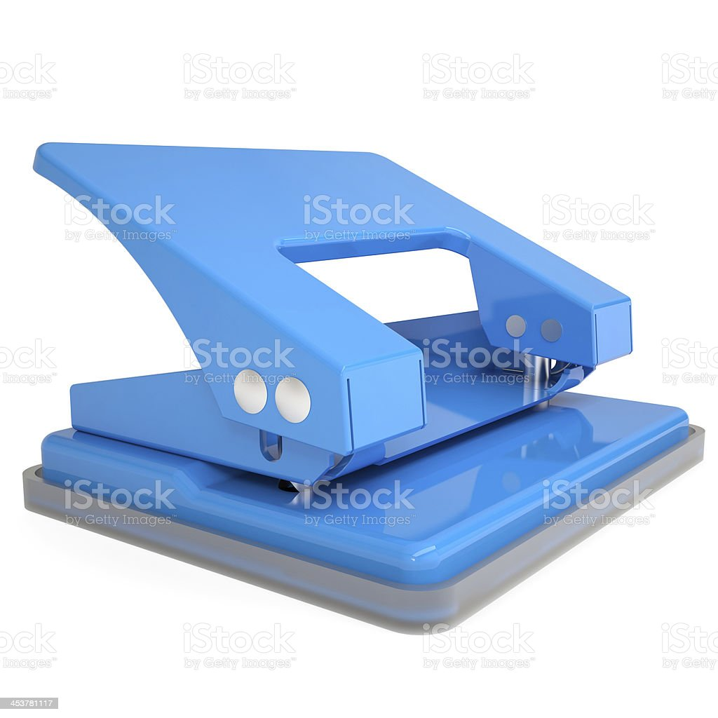 Blue office hole punch stock photo