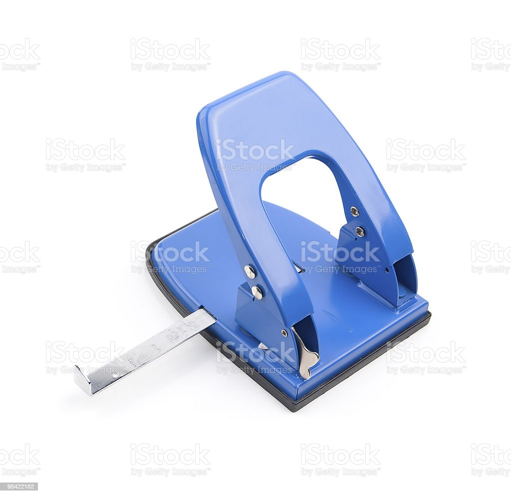 blue office hole puncher royalty-free stock photo