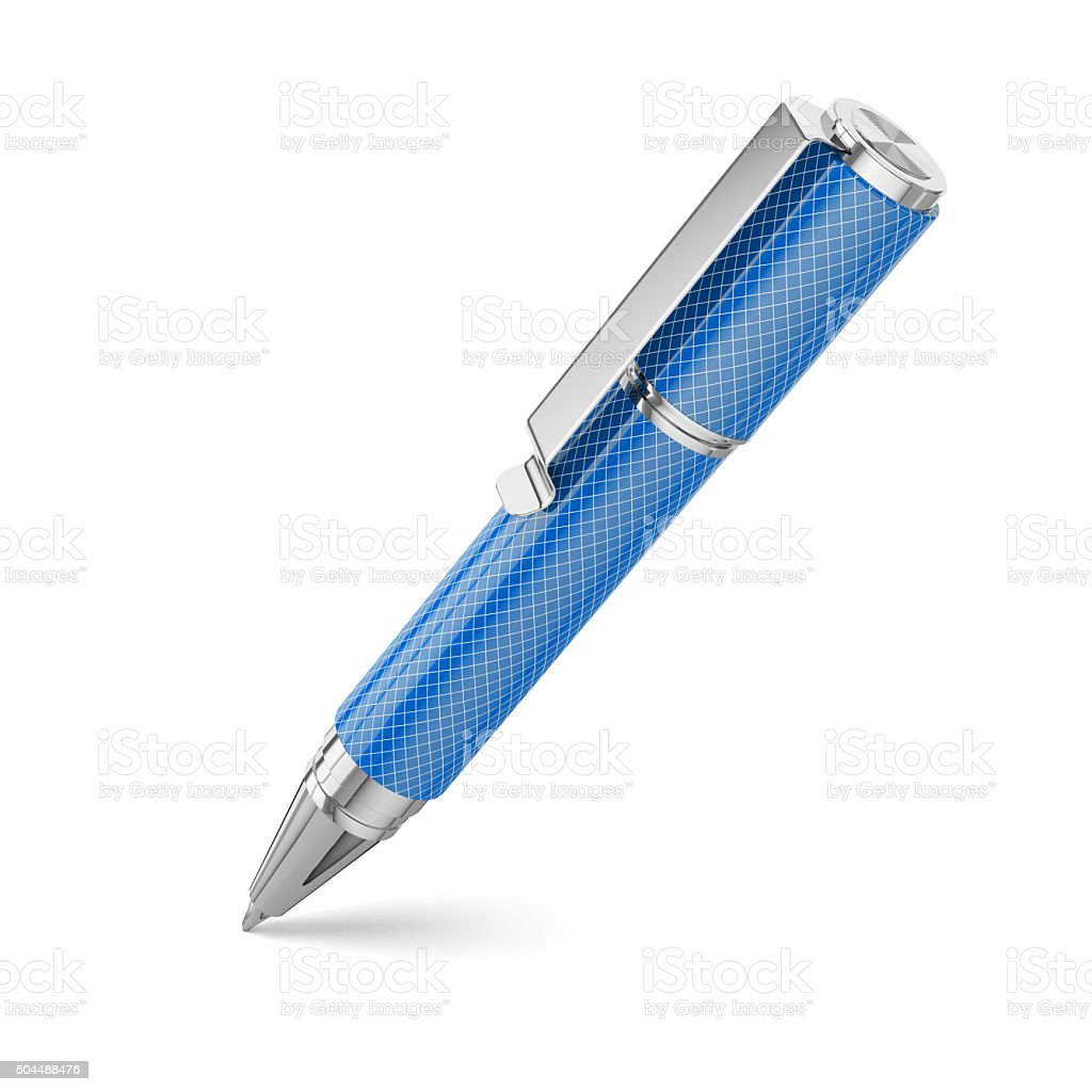 Blue office pen isolated on white background stock photo