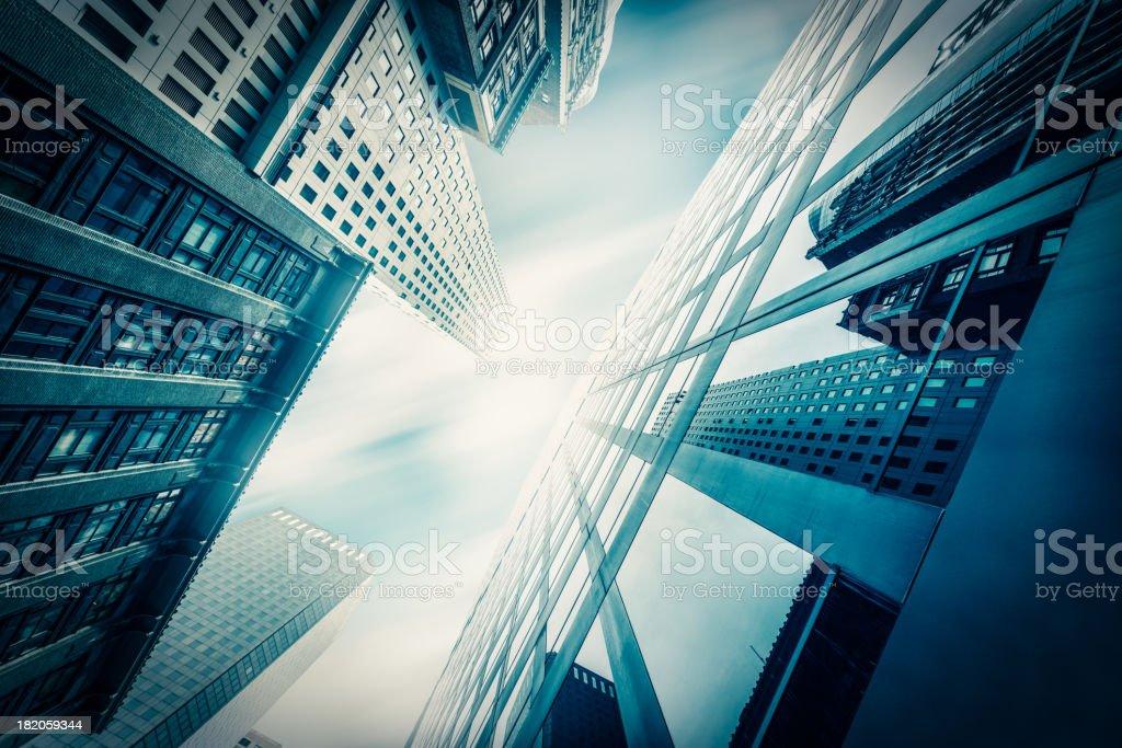 Blue Office skysraper in the sun stock photo