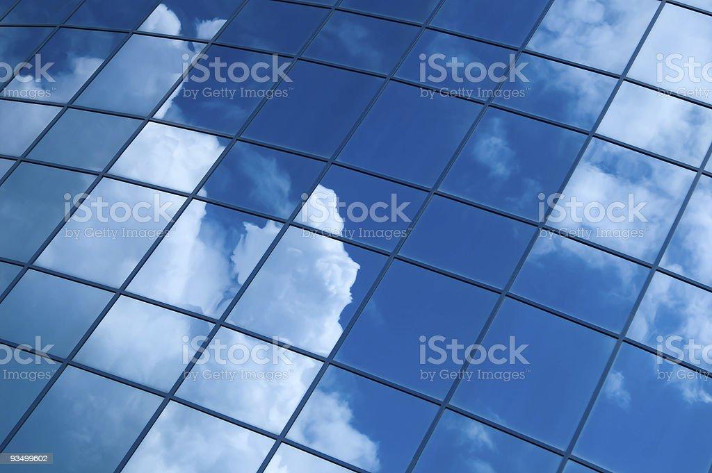 blue office windows stock photo
