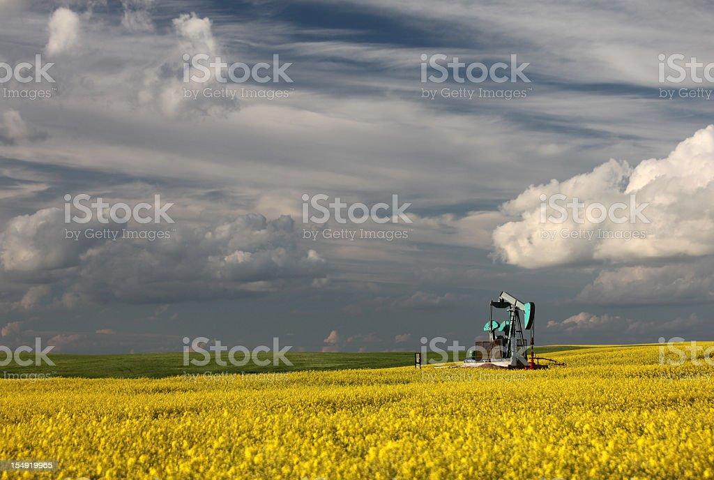 Blue Oil Industry Pumpjack in Alberta royalty-free stock photo