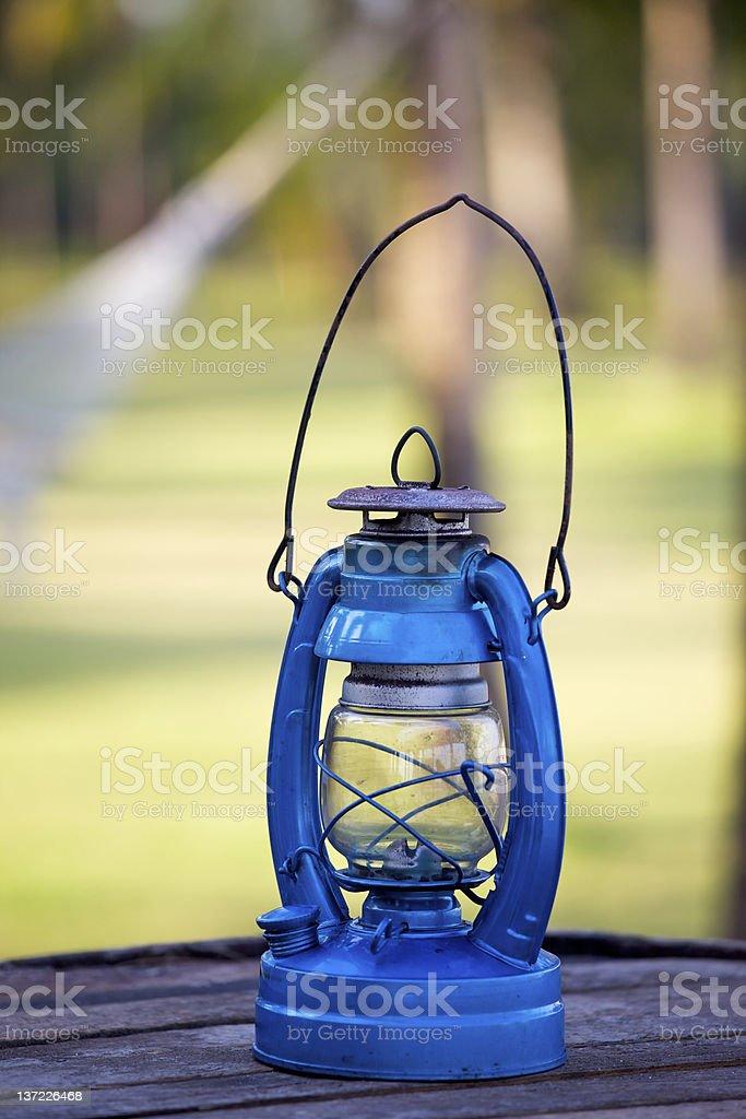 Blue oil lamp stock photo