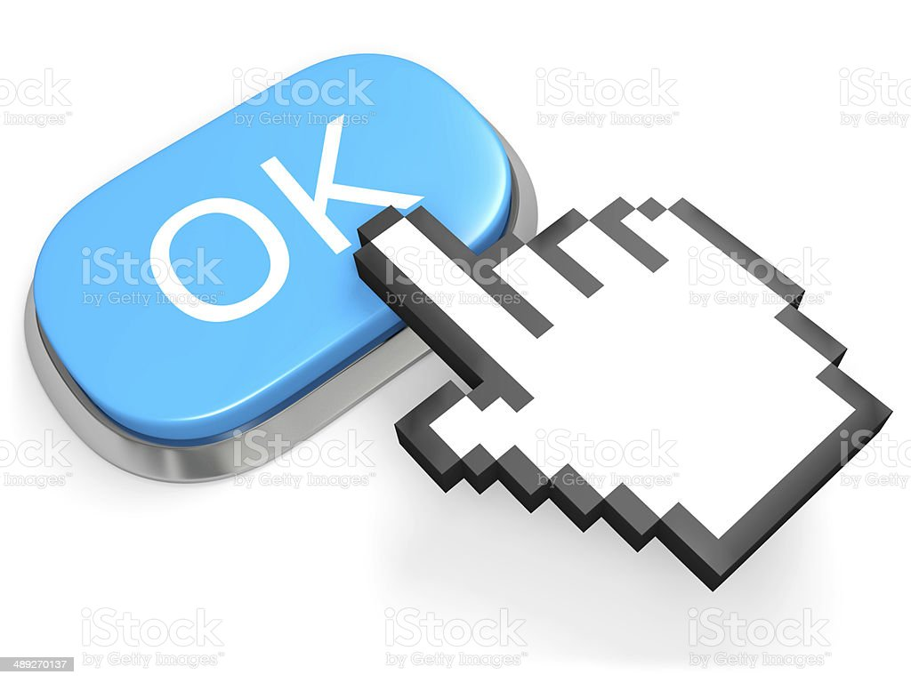 Blue OK button stock photo