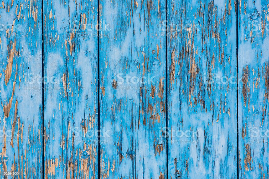 Blue old devastated wood wall stock photo