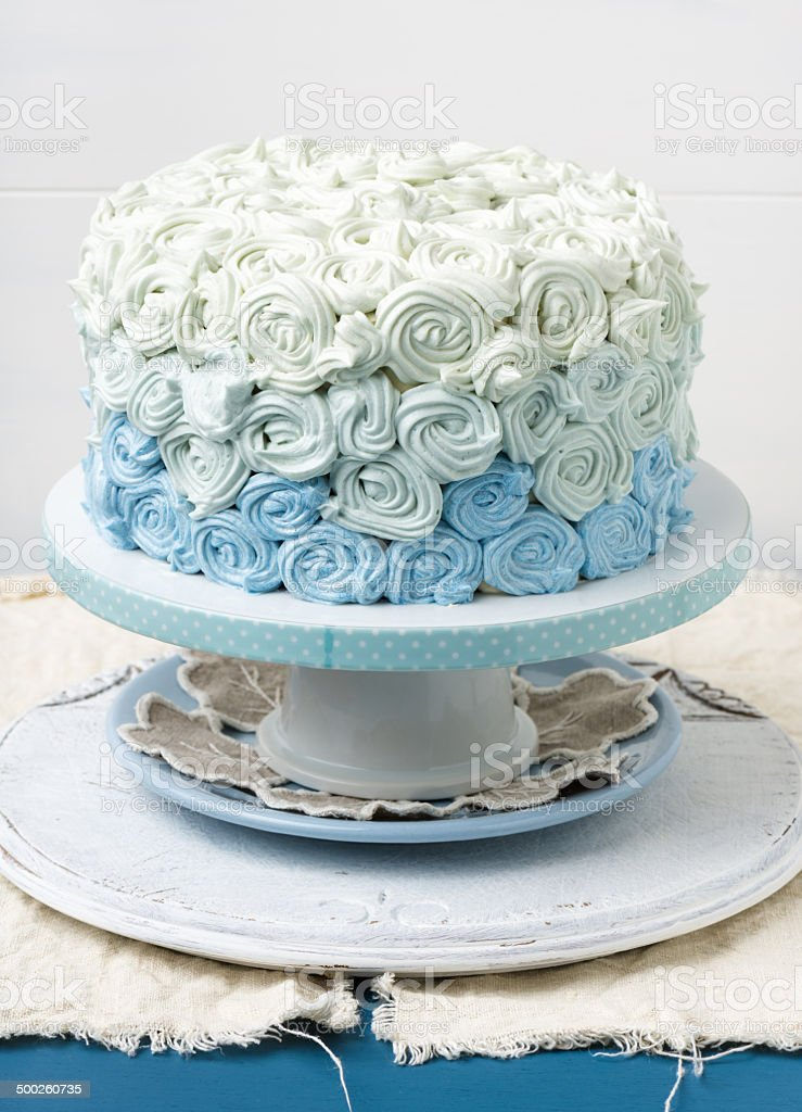 blue ombre cake royalty-free stock photo