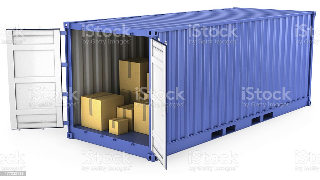 Blue opened container with carton boxes inside royalty-free stock photo
