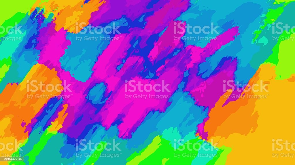 blue orange pink and green painting abstract stock photo