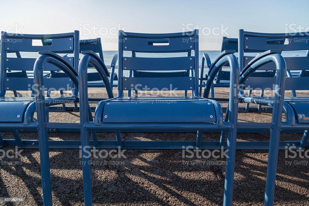 Outdoor seats along the promenade at Nice, France.