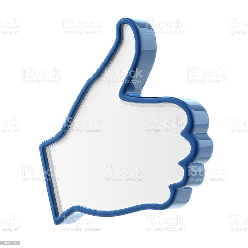 Blue outlined glossy 3D thumbs up icon stock photo