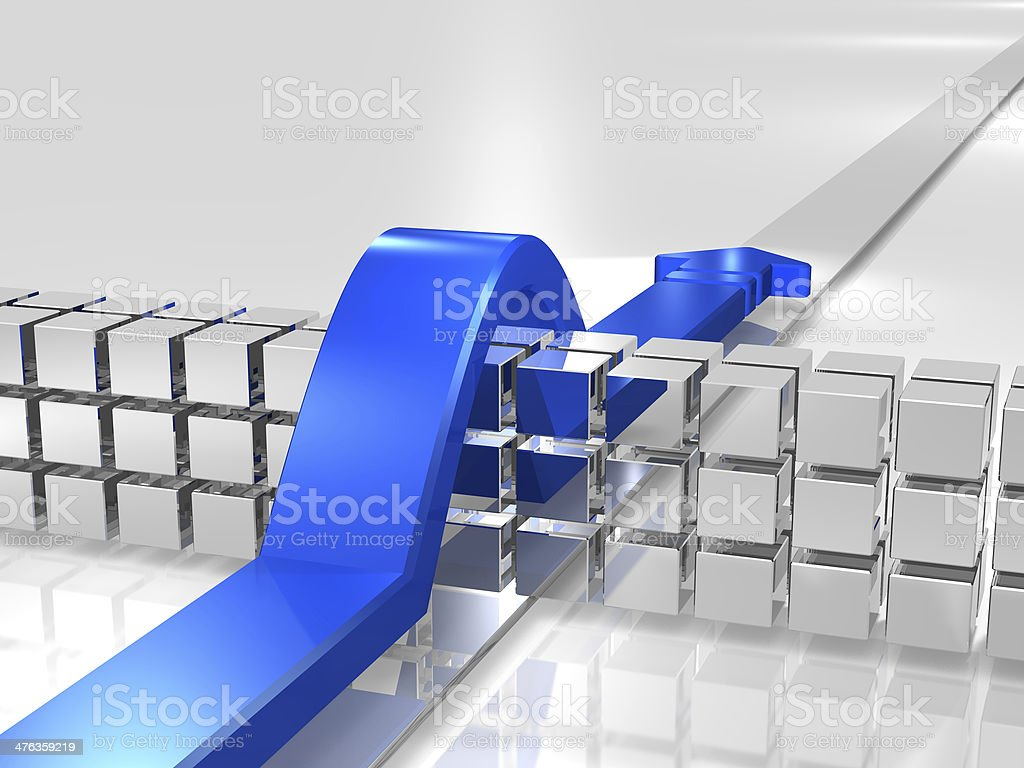 Blue overcomes the obstacles. royalty-free stock photo