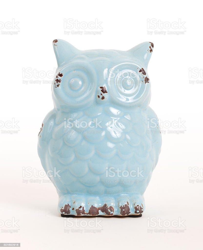 Blue owl gift, isolated stock photo