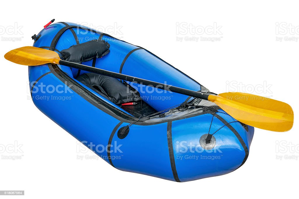 blue packraft isolated stock photo