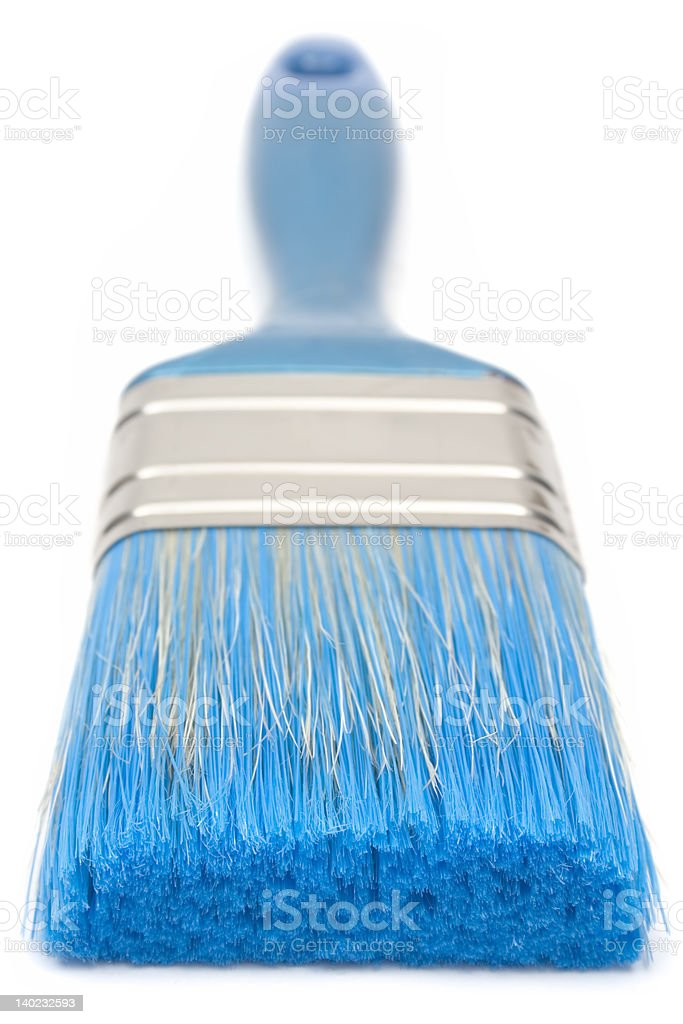 Blue Paint Brush (Front View) royalty-free stock photo