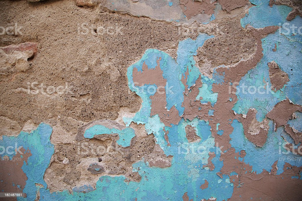 Blue Paint Cracking, Concrete Wall, Grunge, Design Element, Background royalty-free stock photo