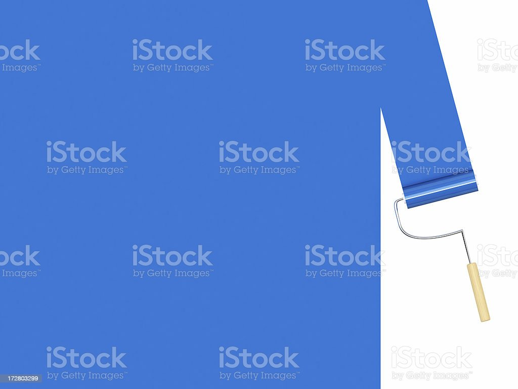 3D Blue Paint roller royalty-free stock photo