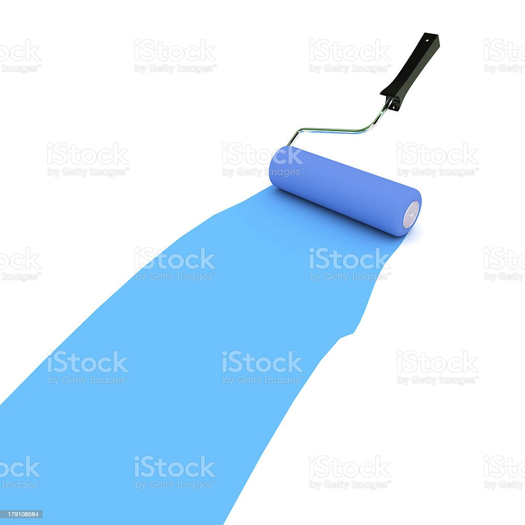 Blue Paint Roller stock photo