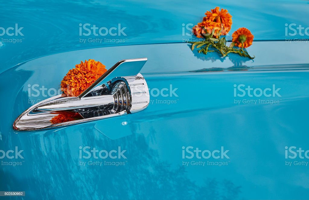 Blue Painted Car Hood, Chrome Ornament, Abstract stock photo