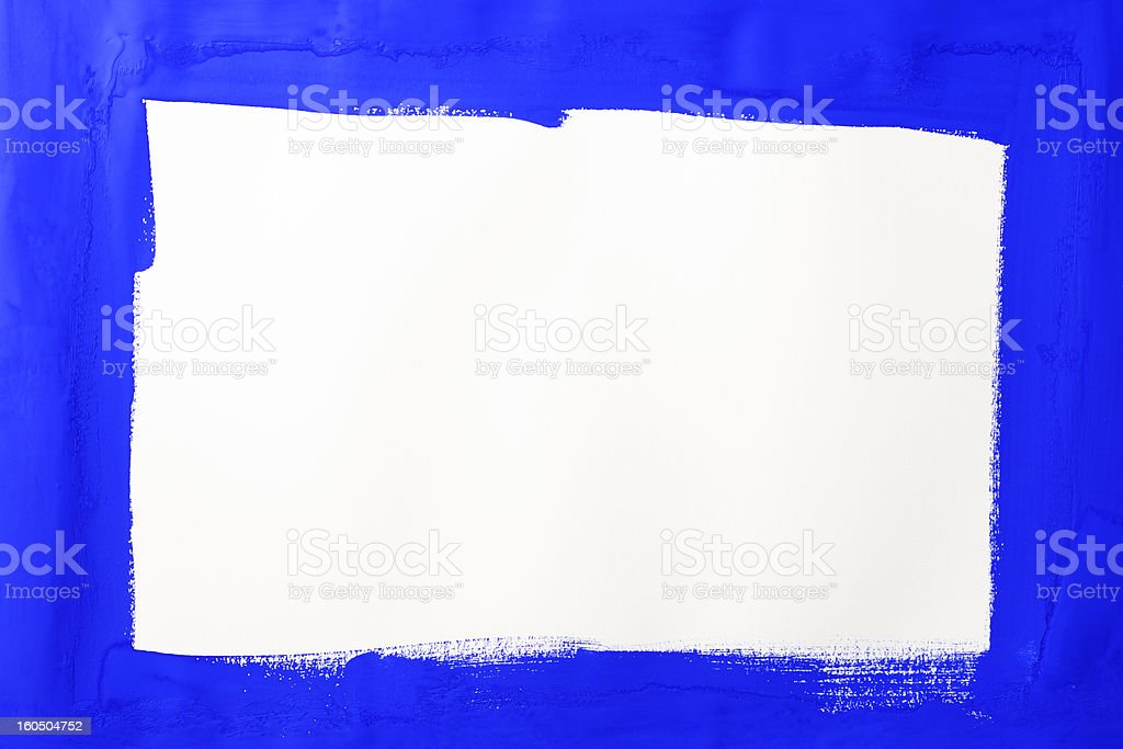 Blue painted frame on white background royalty-free stock photo