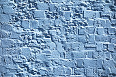 Blue painted stone wall