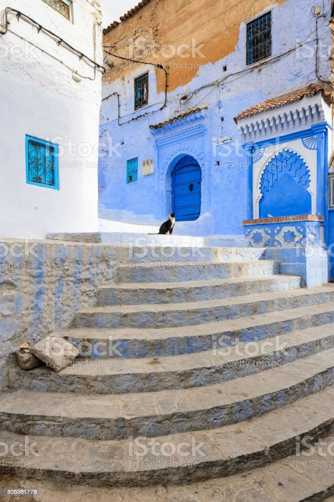 Blue painted walls of the houses in Chefchaouen, small town in northwest Morocco famous by its blue buildings stock photo