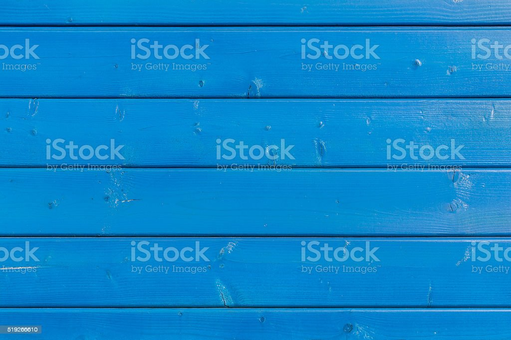 Blue painted wooden board stock photo