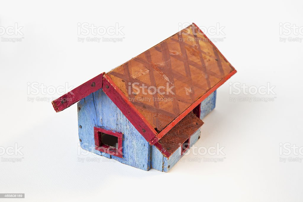 Blue painted wooden toy house. royalty-free stock photo